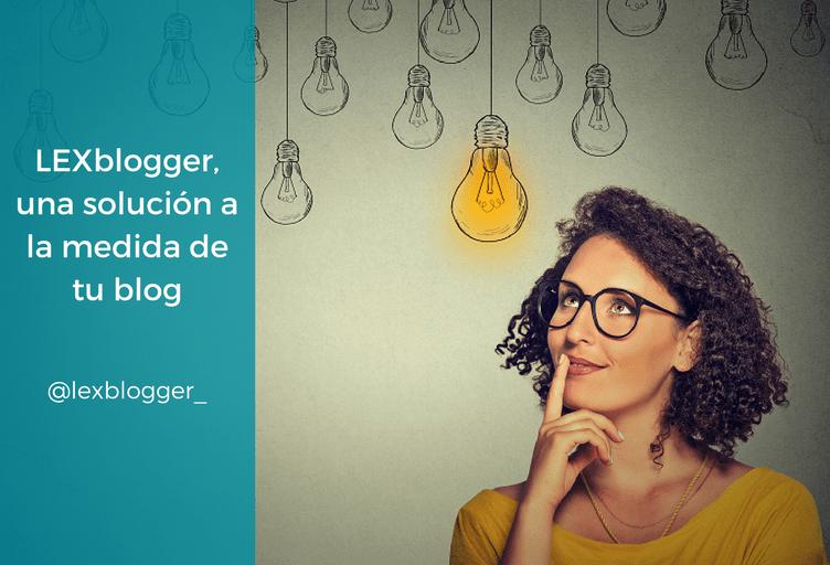 LEXblogger, una solución a la medida de tu blog - Aparece una chica pensativa mirando hacia arriba, donde aparecen un montón de bombillas colgadas del techo apagadas y una encendida en donde se fija la chica.