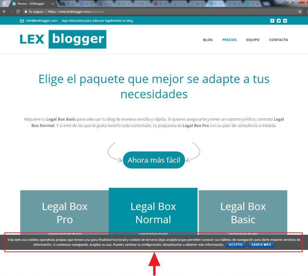 Faldón de cookies - Textos legales - LEXblogger