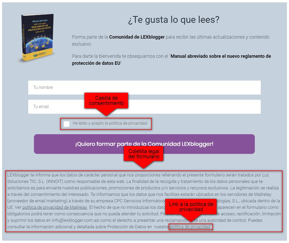 Formulario adecuado al RGPD - LEXblogger