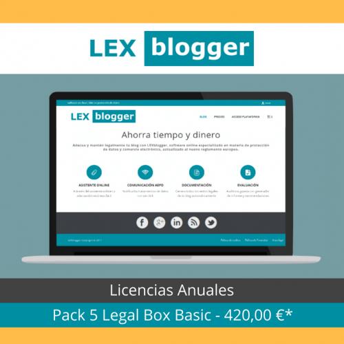 Pack 5 Licencias Legal Box Basic - LEXblogger