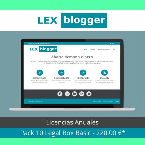 Pack 10 licencias Legal Box Basic - LEXblogger