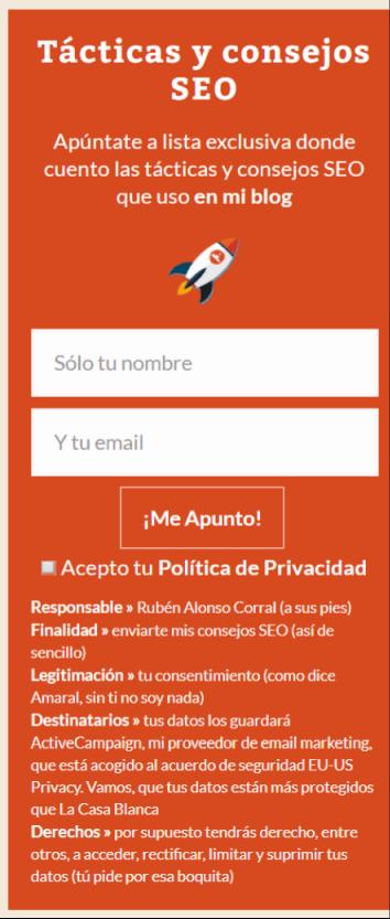 Banner sidebar adecuado al RGPD - LEXblogger