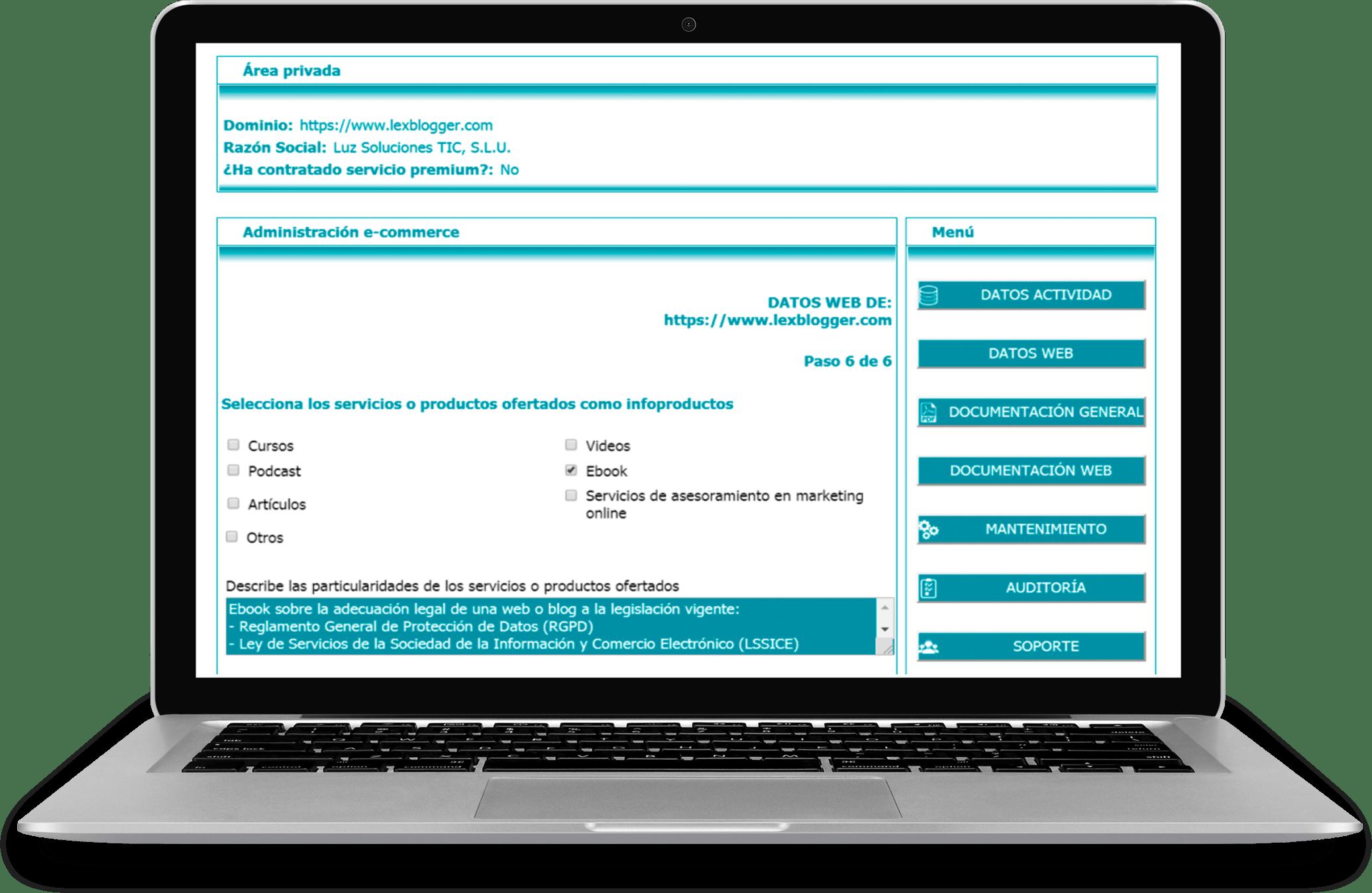 Pantalla Plus Infoproductos - LEXblogger