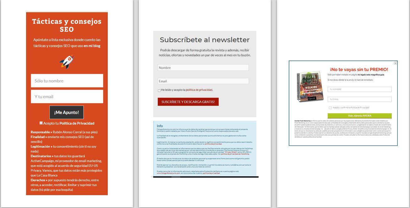 Pop ups de formularios adecuados al RGPD - LEXblogger