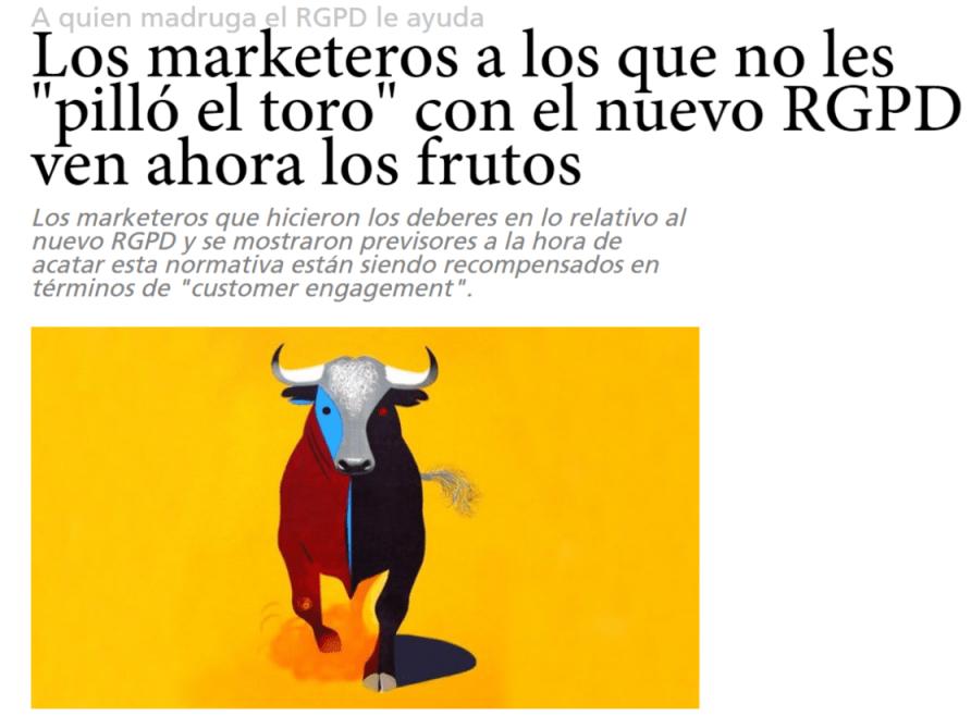 """Los marketeros a los que no les """"pilló el toro"""" con el nuevo RGPD - LEXblogger"""